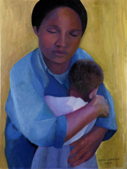 Mother And Child II (oil - 58.30x44cm)